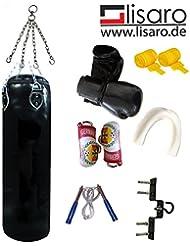 Lisaro Box-Set für Erwachsene, Boxhandschuhe, Boxbandagen,Boxsack Ca.30kg/100cm gefüllt Kunstleder mit Stahlkette