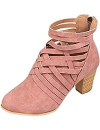 Sandalias mujer, Manadlian Zapatos de tobillo de mujer botines de tacón alto con cremallera (EU:42, Rosa)