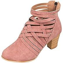 Botas, Manadlian Zapatos de tobillo de mujer botines de tacón alto con cremallera (EU:39, Rosa)