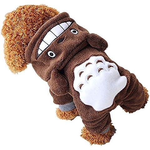 GenialES Sudaderos Chaqueta para Perro Mono para Mascota Invierno con Capucha de Terciopelo de Coral Disfraz de Totoro Halloween Marrón S:36*25cm