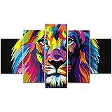 Colorido León pintado Rey león pintura al óleo sobre lienzo Animal Pintura al óleo imágenes Lámina en la pared estirado y enmarcado listo para colgar arte de la pared Creativo decoradores del hogar8x12x2p+8x16x2p+8x20x1p inch^^^With Frame