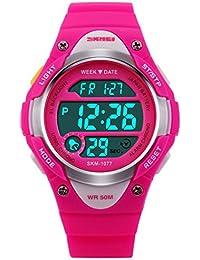 Panegy - Reloj Digital Deportivo de Cuarzo para Niños y Estudiantes-Color Rosado