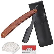 EFANTUR Navaja Afeitar Barbero Shavette con 10 Cuchillas de Doble Hoja Navaja de Afeitar de Hojas Desechables [Incluye 10 Cuchillas Doble Hojas+Funda de Cuero]