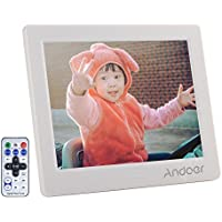 Cornice Digitale Andoer 8 pollici HD 1024 * 768 Widescreen ad alta risoluzione con sveglia MP3 MP4 Video Player con telecomando regalo di Natale