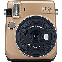 Fujifilm Instax Mini 70 - Cámara analógica instantánea (ISO 800, 0.37x, 60 mm, 1:12.7, flash automático, modo autorretrato, exposición automática, temporizador, modo macro), dorado polvo de estrellas