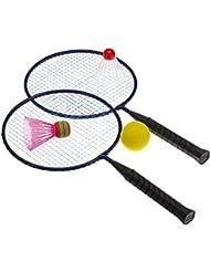Hudora Lot de 2 raquettes en acier + 2 volants + balle - Coloris aléatoire