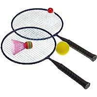 Hudora 76046 - Juego de bádminton para niños (incluye 3 pelotas distintas)