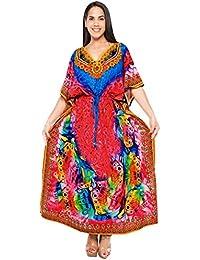 6df6ee87b362 LA LEELA Donne Kaftan Tunica 3D HD Stampato Kimono Libero Formato Lungo  Maxi Partito Caftano Vestito