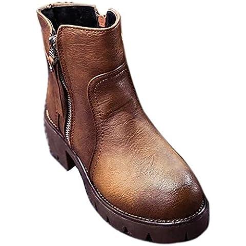 Minetom Mujer Vintage Martín Botas Británico Estilo Zapatos Lado Cremallera Botas