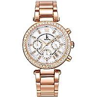 Alienwork Quarz Armbanduhr Perlmutt Uhr Damen Uhren Roségold Strass Metall weiss rose gold K005LA-03