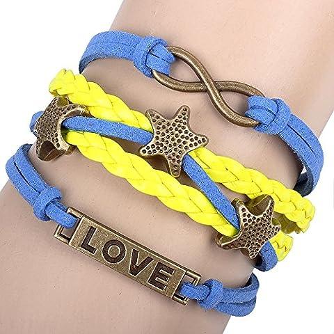 Invierno S Secret Love Identificación Star Multi Strand trenzado Figura Ocho pulsera de Lucky