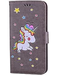 Samsung Galaxy S8 Plus hülle Einhorn Serie Lederbezug mit Wallet Card Slot Funktion und funkelnden Glitter Star-Muster handyhülle.-grau