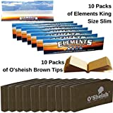 OutonTrip Perfect Smoking Pair Of 10 Elements King Size Slim + 10 Pack Of Osheish Tips Roach Book (raw Paper King Size With Roach/ocb Rolling Paper With Roach/Rolling Paper King Size)