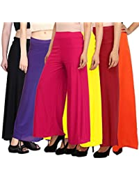 Pixie's Women's Synthetic Palazzo Combo (Pack Of 6) Black, Purple, Pink, Yellow, Maroon And Orange - Free Size