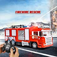 W1XX Rescue R/C Fire Engine Truck Radio Remote Control Firefighting Car 360 Degree Rotating Nozzle Water Spray
