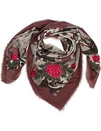 CASPAR SC473 Écharpe XXL pour femme - Grand foulard avec motif camouflage  et roses 4cd1ba7f095
