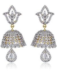Fasherati CZ Studded Lotus und Bell Jhumkis für Frauen