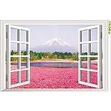 Ecloud Shop® Ventanas 3D del hermoso paisaje Vinilo Room Decor Wallpaper impermeable