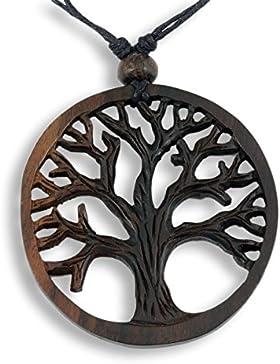 ISLAND PIERCINGS Halskette Anhänger aus Holz Baum des Lebens längenverstellbar N267
