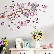 Wallpark Bohemio Estilo Rosa Flores Pájaros en Árbol Rama Desmontable Pegatinas de Pared Etiqueta de la Pared, Sala Dormitorio Hogar Decorativas Adhesivas DIY Arte Murales