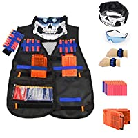Kids Tactical Vest Kit for Nerf Guns N-Strike Elite Series, with 40 Pcs Refill Darts, 1 Reload Clips, Face Tube Mask, 1 Hand Wrist Band and Protective Glasses
