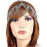 Head Jewelry ~Silvertone Bohemian Draped Round Head Chain Hair Band (IHC1033-SIL)