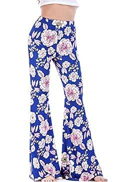 Jiayiqi Mujer Informal Floral Impresa Pierna Ancha Pantalones Abocinados