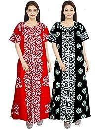 Trendy Fab Women's Cotton Nighty, Gown, Sleepwear, Nightwear, Maxi (Blue, Free Size)