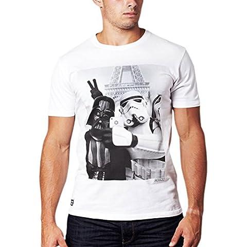Star Wars - T-shirt Empire Selfie con Darth Vader e lo Stormtrooper - Maglietta di ottima qualità di marca chunk - Bianco crema - L - Crema Girocollo