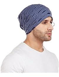 Vimal Jonney Navy Blue Torn Look Beanie Cap For Men-RING_CAP_KF_NVY_01