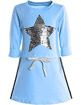 BEZLIT - Vestido - corte imperio - Estrellas - Cuello redondo - Manga Larga - para niña