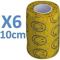 SMILEY Gelb Kohlenstoff-Bandage, 6 Rollen x 10 cm x 4,5 m, flexibel, selbstklebend, Profiqualität, Sportbandagen preisvergleich bei billige-tabletten.eu