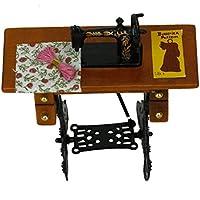 Newin Star Máquina de coser vintage en miniatura con ropa para decoración de casa de muñecas