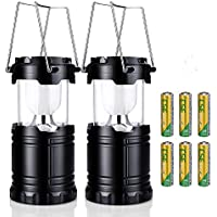 2 x Camping Lanterns, Xintop Dimmable 3 Lighting Modes Collapsible Ultra Bright Water Resistant Camping Gear Equipment Flashlight Lanterns, Battery Powered Tent Lights for Fishing, Hiking, Hurricanes, Outages, Emergencies ( 6 AA Batteries included )