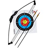 """Geelife 35"""" Junior Compound Bow and Arrow Archery Set with 2 Arrows and Target Sheet for Youth Kids Children"""