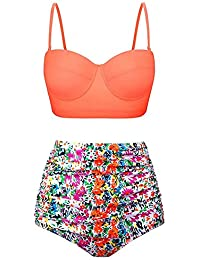 HEARTBEAT Trajes De Baño para Mujer Vintage Bandeau Push Up Polka Dot Plus Size Trajes De Baño Bikini De Cintura Alta