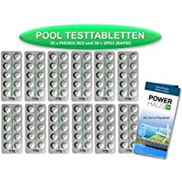 POWERHAUS24 - Pastillas de test 100 unidades - 50 de cloro DPD n.º 1 - 50 de pH rojo de fenol para pruebas en agua de piscinas (método rápido)