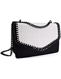 CRAZYCHIC - Women s Chain Crossbody Bag - PU Snake Skin Leather Quilted  Shoulder Bag - Elegant 4d7aa4d88e144