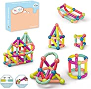 42-Piece Magnetic Ball and Stick Building Block Set | Colorful, Different Sizes of Curved Shape Children's