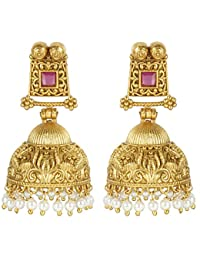 MUCH MORE Indian Fantastic Style Gold Plated Party Wear Polki/Jhumka Earring Jewellery For Women's