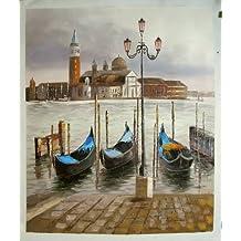 Góndolas de Venecia - Pintura al óleo pintada a mano sobre lienzo - Excelente calidad y la artesanía