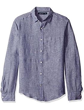 Nautica Linen Solid Slim Fit, Camicia Uomo