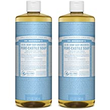 Dr. Bronner Magic Soaps Pure-Kastilien Seife, 18-in-1 Hemp Unscented Baby-Mild, 32-Unzen-Flaschen (2er Pack)