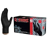 AMMEX Heavy Duty Black Nitrile 6 Mil Disposable Gloves - Diamond Texture, Industrial, Powder Free, Medium, Box of 100
