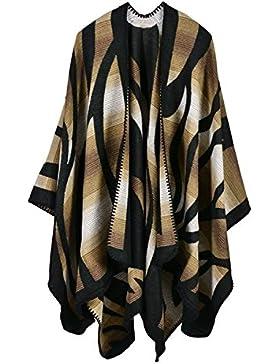 Mujer Capa Otoño Invierno Elegantes Moda Poncho Outerwear Estampadas Patrón Color Sólido Irregular Lindo Chic...