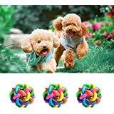 SRI Imported High Quality Dog Multi Color Wire Ball With Bell Dog Puppy (Medium)