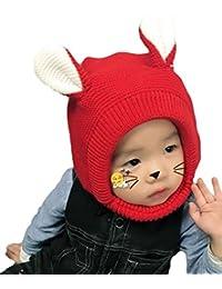 Bigood Cagoule Enfant Tricot Bonnet avec Oreilles Cache Oreilles Calotte  Automne Hiver Mignon b1a7e2ca6c5