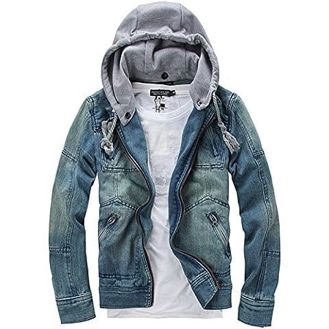 SZYYSD da uomo Casual con cappuccio giacca di jeans staccabile Cappello
