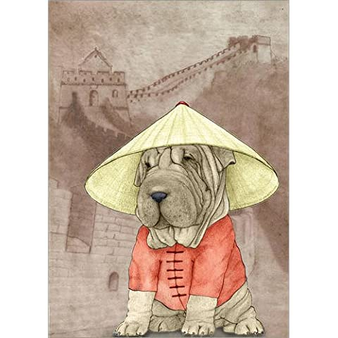Stampa su legno 90 x 120 cm: Shar pei With The Great Wall di Barruf