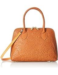 CTM Damenhandtasche mit Blumenmuster , Clutch aus echtem Leder in Italien - 32x23x10 Cm